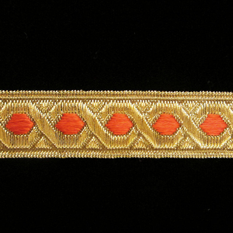 "809.1 Red hex metallic galloon antique gold 7/8"" (22mm) - Palladia Passementerie"