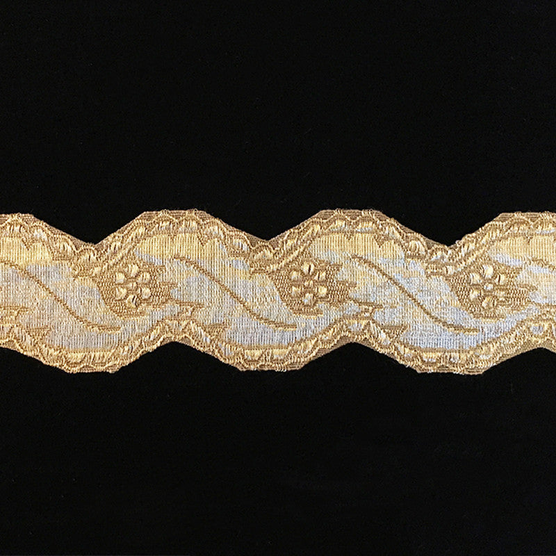 "810.2 Large scallop metallic antique-gold galloon trim 1-3/4"" (45mm)"