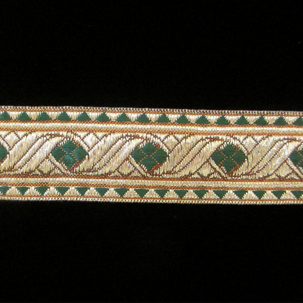 "823.1 Diamond green metallic galloon 1-1/8"" (30mm) - Palladia Passementerie  - 1"