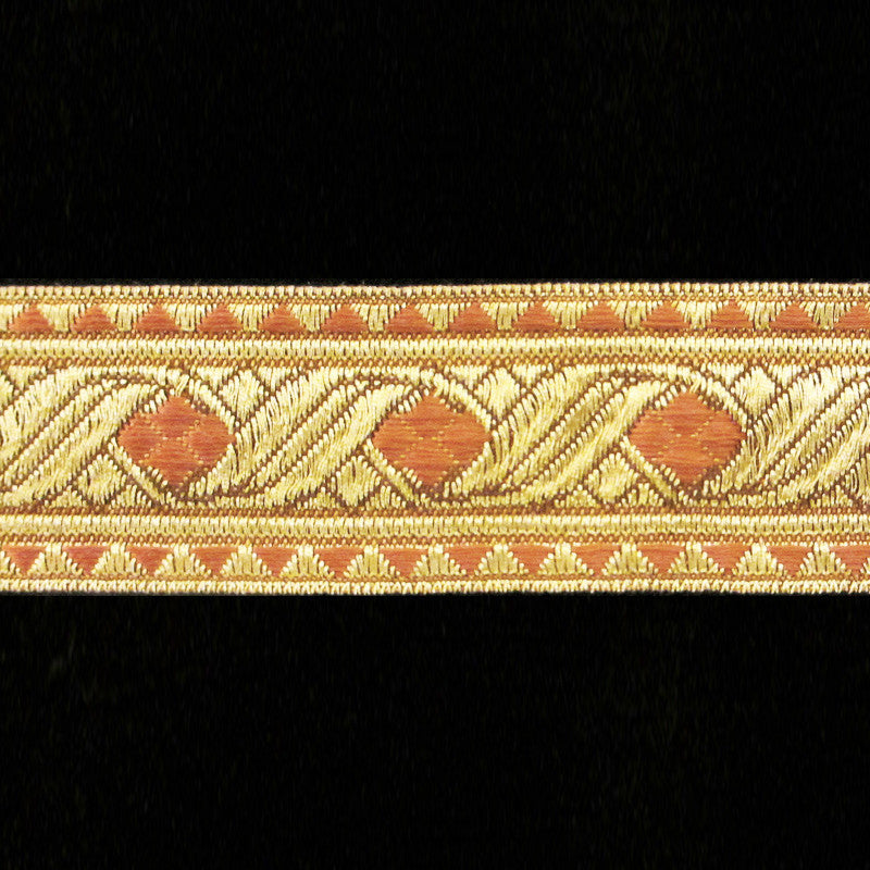 "823.2 Diamond rust metallic galloon 1-1/8"" (30mm) - Palladia Passementerie"