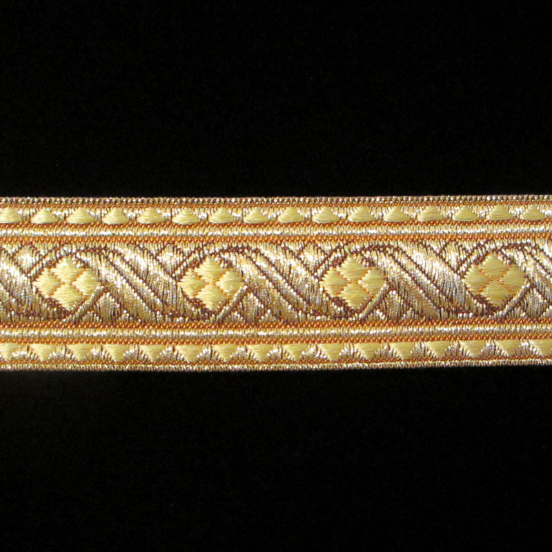"823.4 Diamond metallic galloon gold 1-1/8"" (30mm) - Palladia Passementerie  - 1"