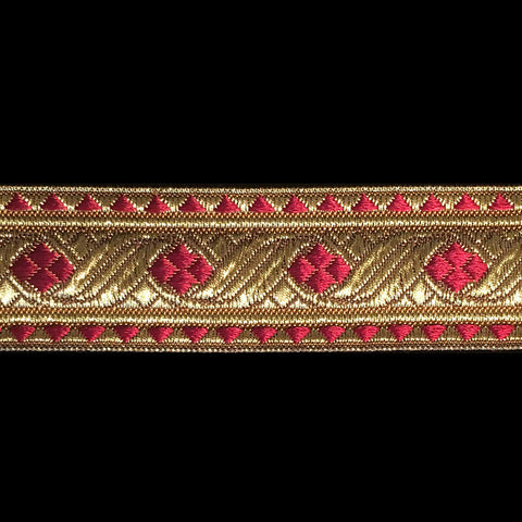 "823.5 Diamond bordeaux dark red metallic galloon 1-1/8"" (30mm) - Palladia Passementerie  - 1"