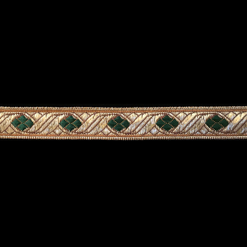 "824.1 Diamond green metallic galloon trim 5/8"" (16mm)"