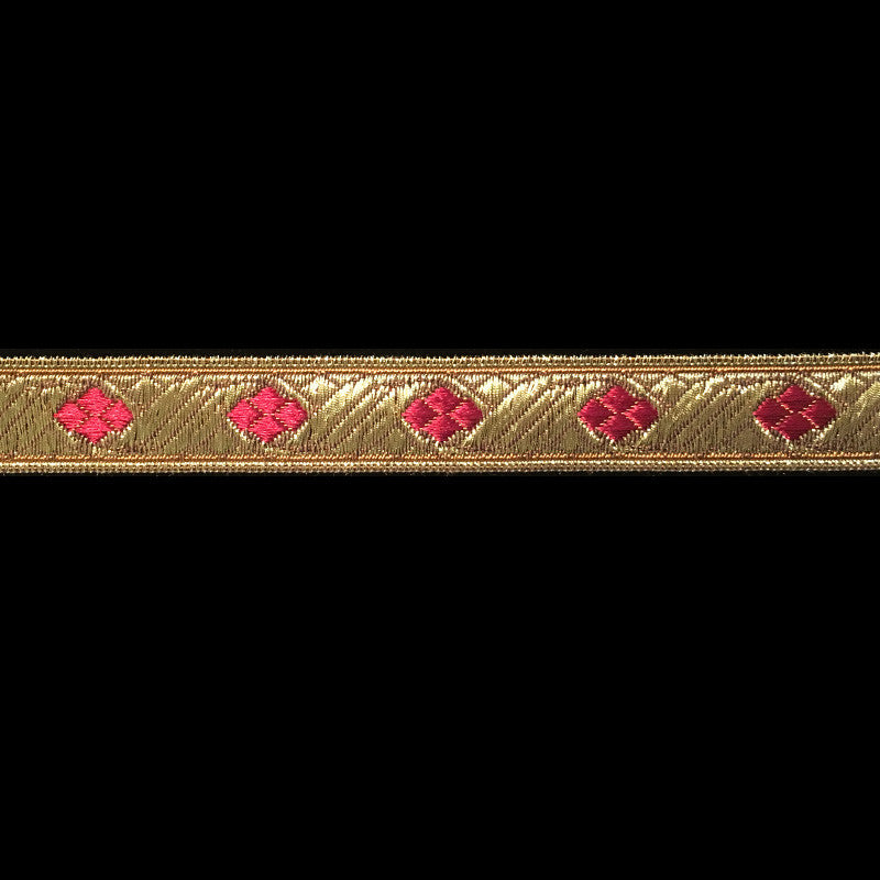 "824.5 Diamond bordeaux dark red metallic galloon 5/8"" (16mm) - Palladia Passementerie  - 1"
