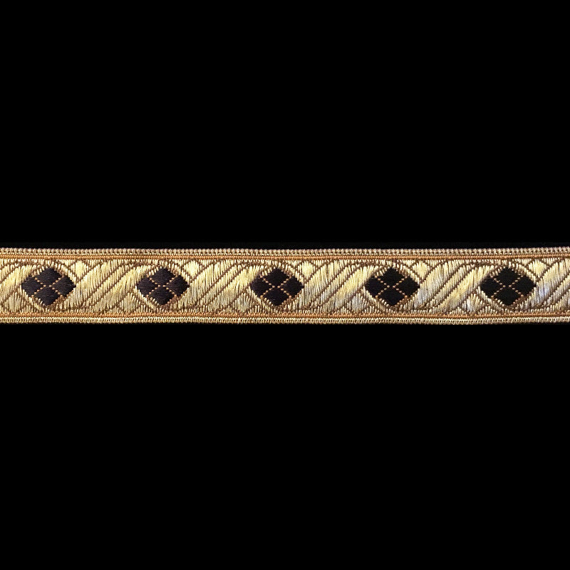 "824.9 Diamond black metallic galloon trim 5/8"" (16mm)"