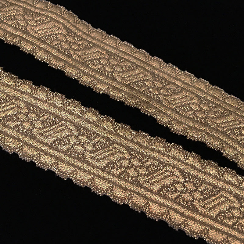 830 2 Rope and Flower - Scallop metallic antique-gold galloon trim 1-¼