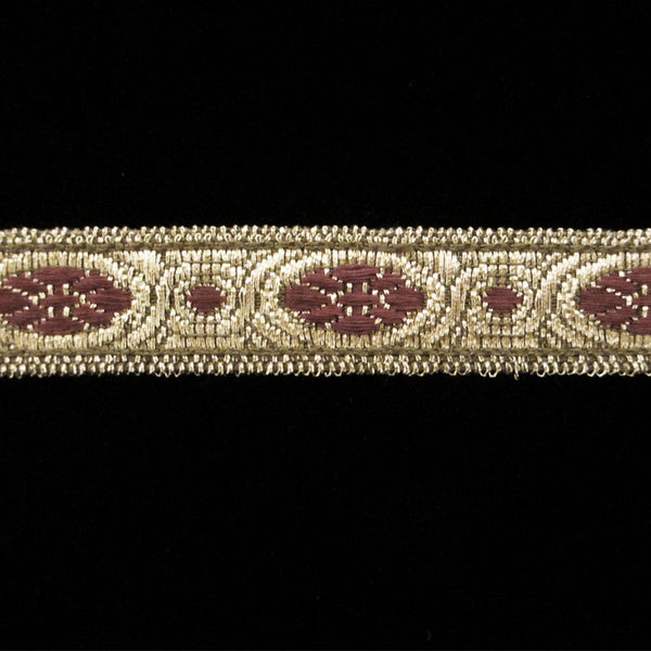 "833.2 Scarlet metallic galloon antique gold 1/2"" (13mm) - Palladia Passementerie  - 1"