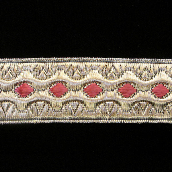 "846.5 Trapunto red metallic galloon trim wide 1-1/8"" (30mm) - Palladia Passementerie  - 1"