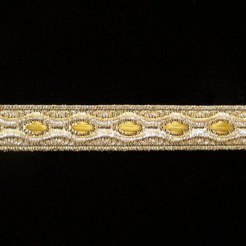 "846.9 Trapunto gold metallic galloon narrow 5/8"" (16mm) - Palladia Passementerie  - 1"