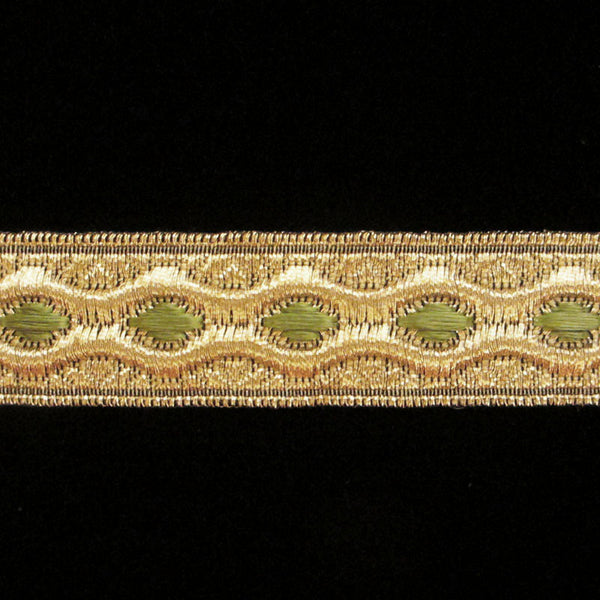 "846.22 Trapunto green metallic galloon 3/4"" (19mm) - Palladia Passementerie"