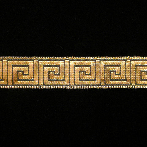 "847.2 Greek key metallic galloon black/gold 5/8"" (15mm) - Palladia Passementerie  - 1"