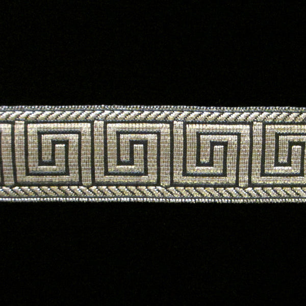 "847.3 Greek key metallic galloon black/silver 1"" (25mm) - Palladia Passementerie  - 1"
