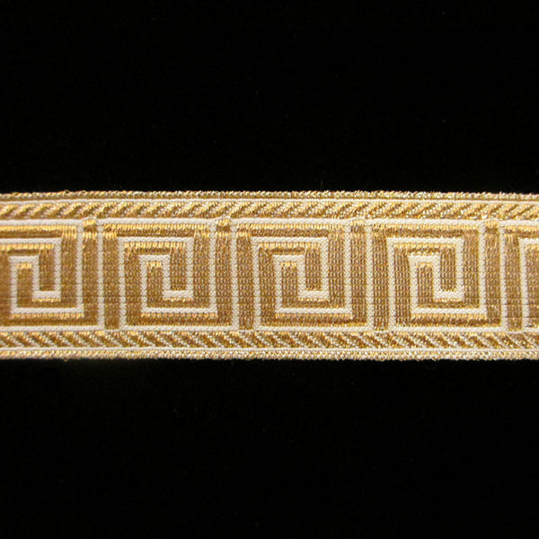 "847.4 Greek key metallic galloon white/gold 1"" (25mm) - Palladia Passementerie  - 1"