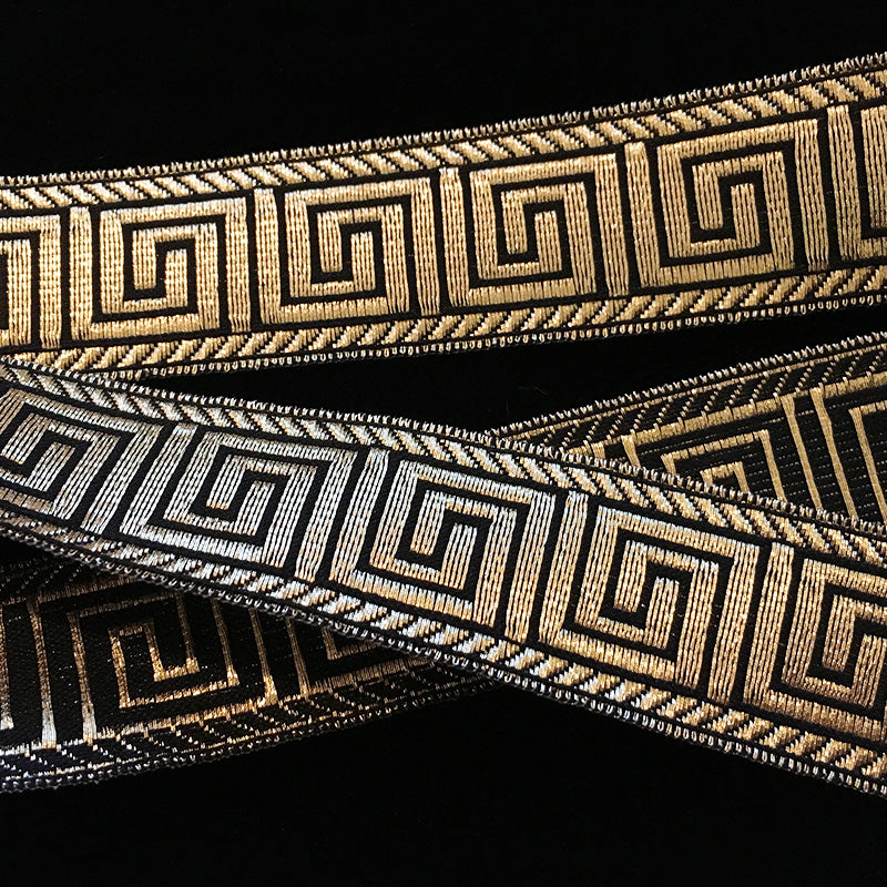 "847.5 Greek key metallic galloon black/gold 1"" (25mm)"
