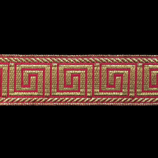 "847.8 Greek key metallic galloon red/gold 1"" (25mm)"
