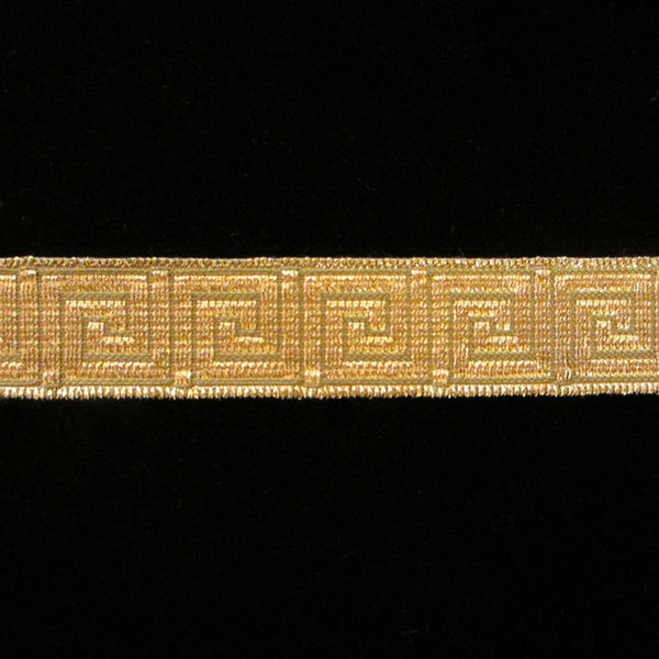 "847.1 Greek key metallic galloon olive/gold 5/8"" (15mm) - Palladia Passementerie  - 1"