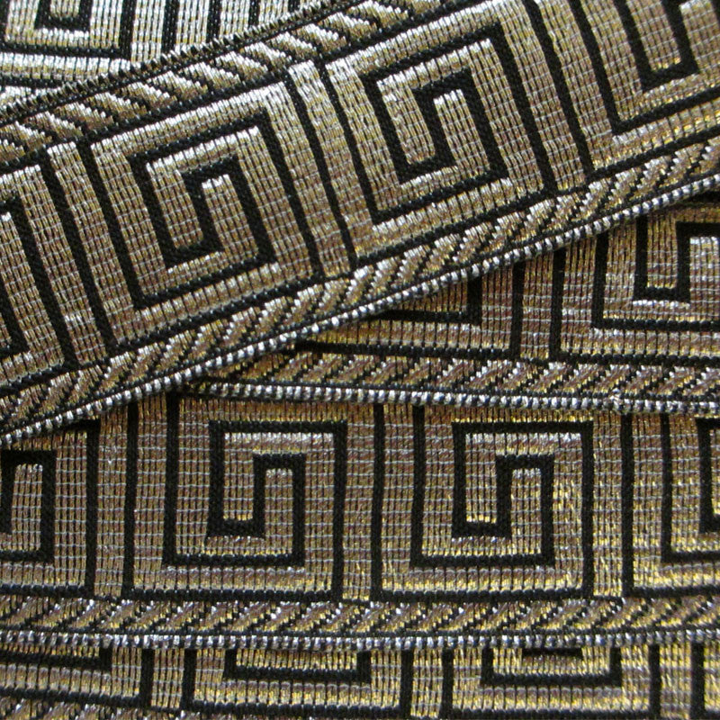 "847.3 Greek key metallic galloon black/silver 1"" (25mm) - Palladia Passementerie  - 2"