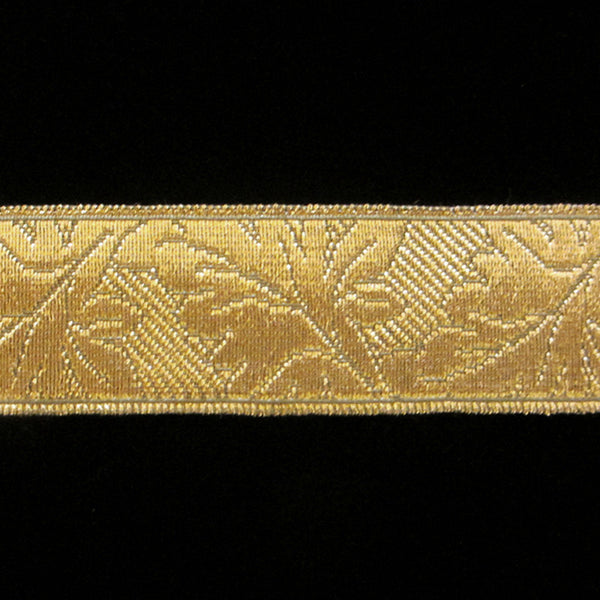 "850.1 Oak Leaf metallic galloon antique gold 1-⅛"" (28mm) - Palladia Passementerie"