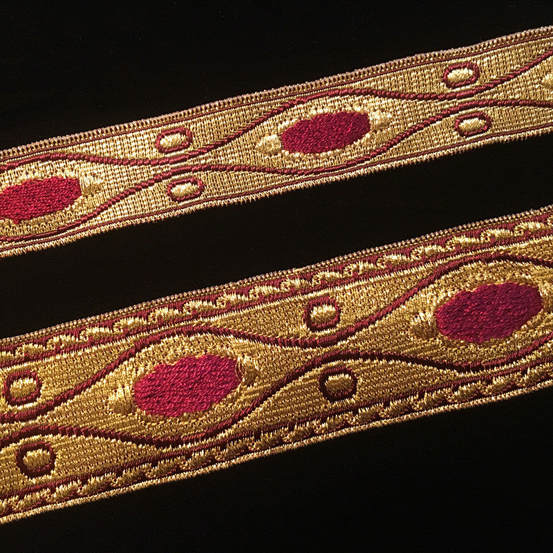 "853.2 Ellipse bordeaux dark red metallic galloon 1-1/8"" (28mm) - Palladia Passementerie  - 3"
