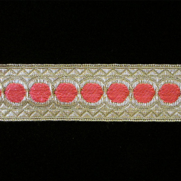 "856.1 Red dot metallic galloon 1"" (25mm) - Palladia Passementerie  - 1"