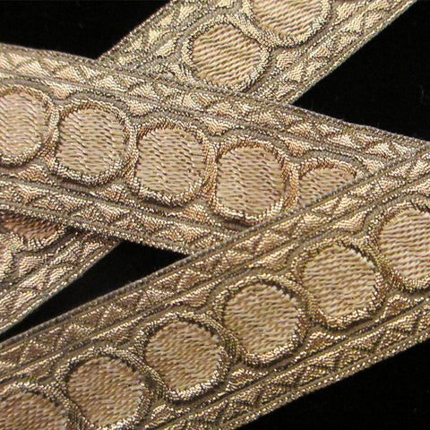 "856.3 Mocha dot metallic galloon 1"" (25mm) - Palladia Passementerie  - 3"