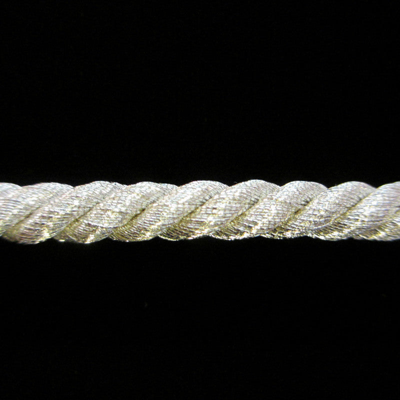 "R036 Large metallic cord silver ¼""(6mm) *Real Silver* - Palladia Passementerie  - 1"