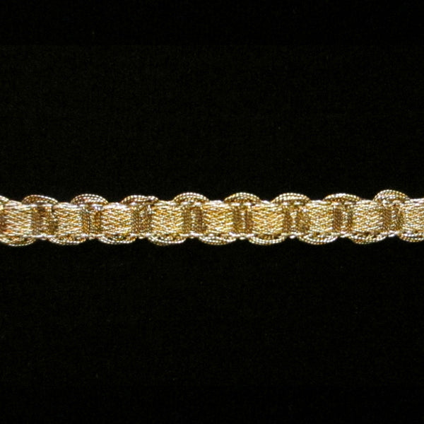 "MR038 U-loop metallic gimp antique gold 1/4"" (6mm) - Palladia Passementerie"