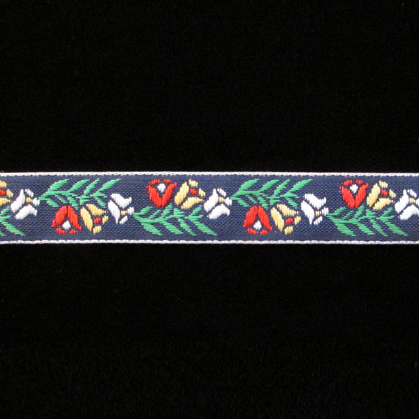 "R064 Tulips jacquard trim ⅝"" (15mm) - PRICED PER 5 YARDS - Palladia Passementerie"