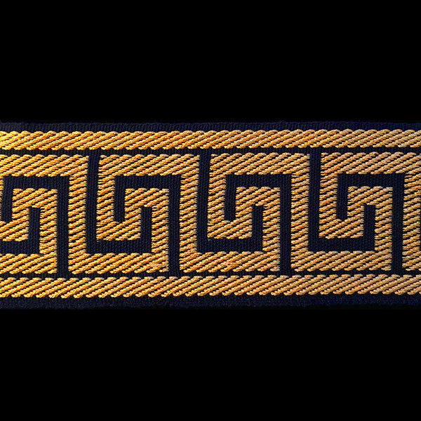 "R090 CLEARANCE Jacquard trim ""Greek Key"" black/gold - 2-1/4"" (57mm) - Palladia Passementerie  - 1"