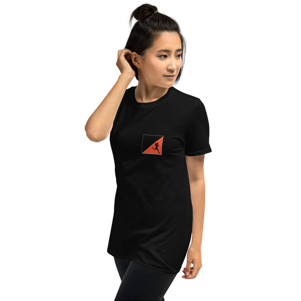 Orienteering - small prism, runner woman, dark shirt