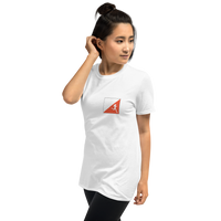 Orienteering - small prism, runner woman, light shirt