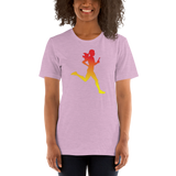 Orienteering - runner woman, gradient red-yellow