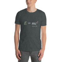 Einstein's equation E=mc2, dark shirt