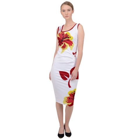 Kalent Zaiz (White Flower) Sleeveless Pencil Dress