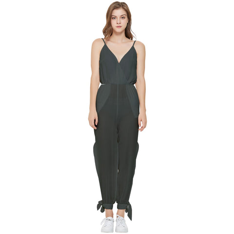 Cute V Sleeveless Tie Ankle Jumpsuit