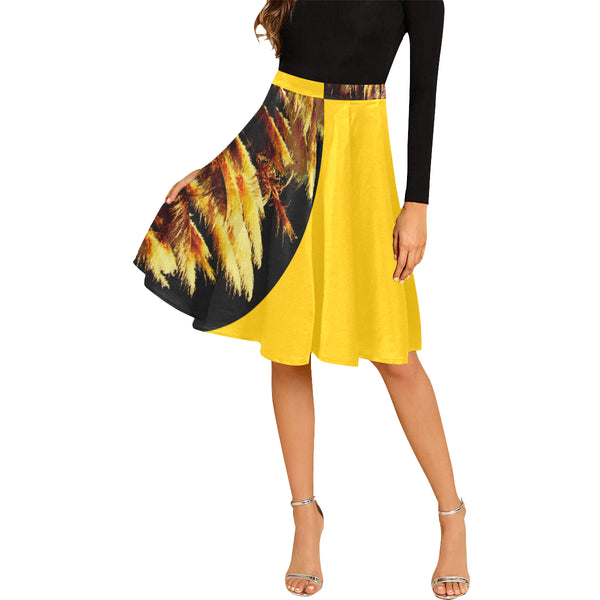 Kalent Zaiz Pleats Skirt Women's Midi Skirt (Yellow) - Designed by Kalent Zaiz