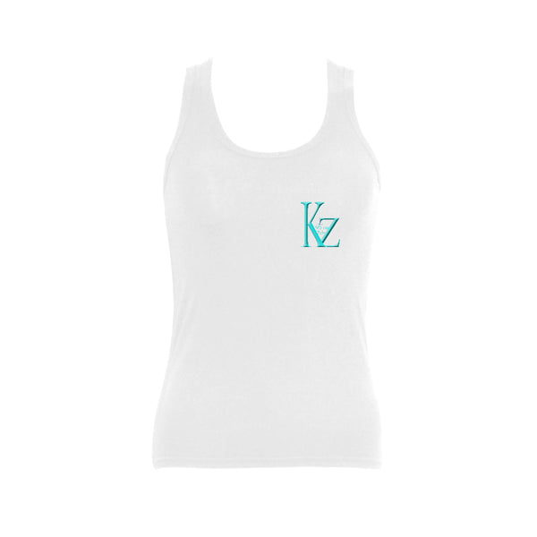 White Women's Shoulder-Free Tank Top