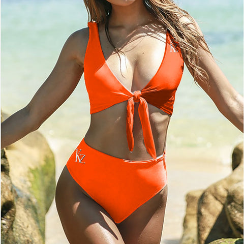 High waist Tie Knot Two-piece Swimsuit Bikini