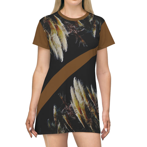 Kalent Zaiz Sexy T-Shirt Dress (Brown)