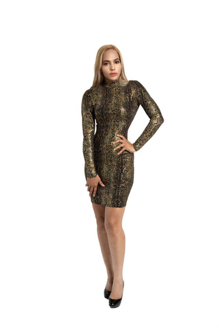 Kalent Zaiz Skinless Snake Long-Sleeve Dress