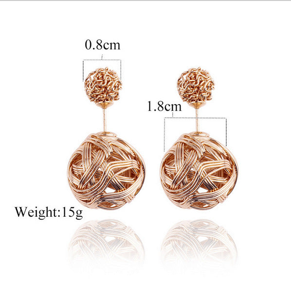 E032 Explosion models foreign trade earrings metal winding tangled irregular earrings