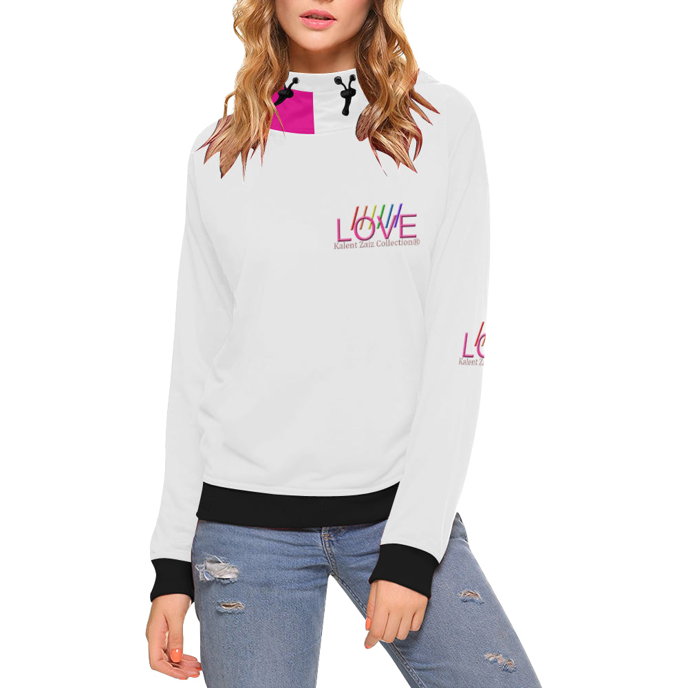 WE LOVE! Women's All Over Print Turtleneck Pullover Hoodie