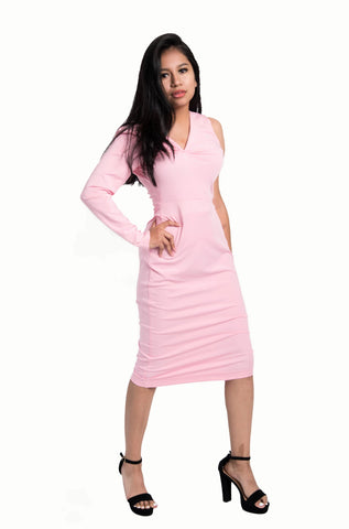 Kalent Zaiz Pink Long Sleeve Bodycon Dress/ Designed by Kalent Zaiz