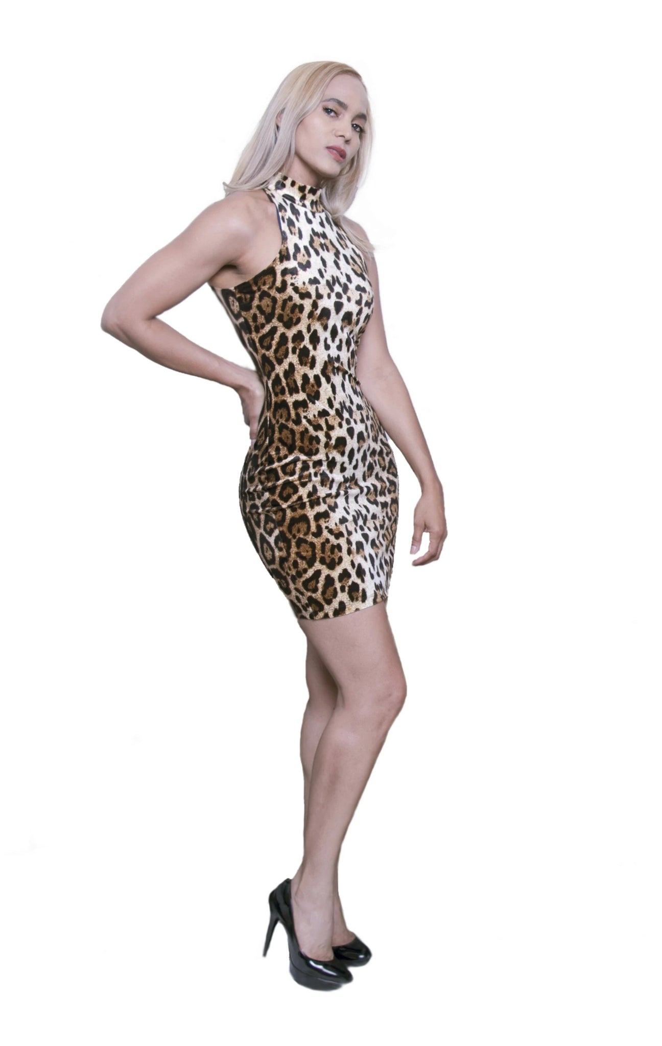 Kalent Zaiz Trendy Contemporary leopard sleeveless turtle dress