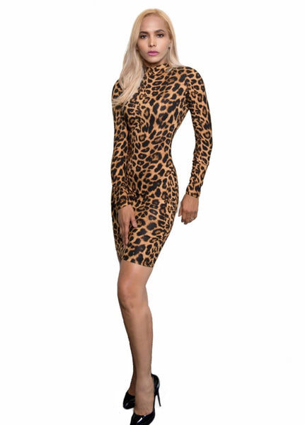Kalent Zaiz Skin-Less Leopard Long-Sleeve Dress