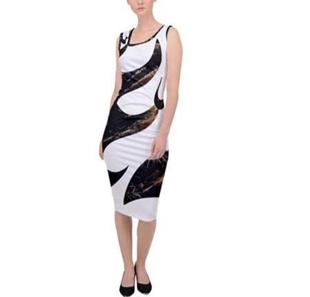 Kalent Zaiz (White with parttern) Sleeveless Pencil Dress