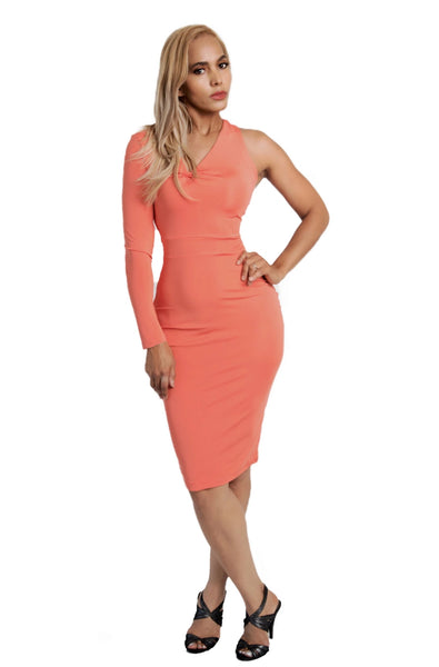 Kalent Zaiz Salmon Long Sleeve Bodycon Dress/ Designed by Kalent Zaiz
