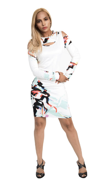 Kalent Zaiz Halter Long-Sleeve White Dress