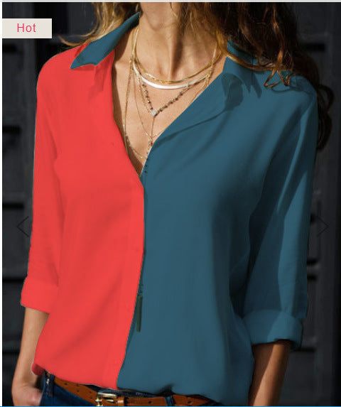 Multi-color multi-code    explosion color matching V-neck ladies shirt bottoming shirt