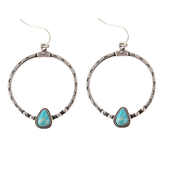 Wish explosion  retro silver turquoise earrings Europe and America creative eyelashes handmade big circle earrings
